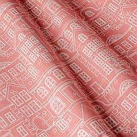 Декоративная ткань с принтом домики, тефлоновое покрытие