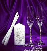 Набор свадебных аксессуаров в стразах (бокалы 26,3см, свечи)