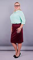 Пион. Женская юбка супер батал. Бордо. 60