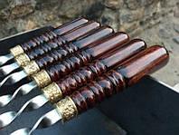 Шампур с деревянной ручкой и бронзовой оковкой (3мм, 75см, 1шт)