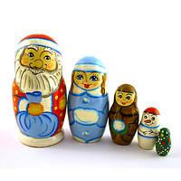 """Матрешка """"Дед Мороз"""" 5 мест, Петриковская роспись"""