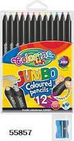 """Карандаши """"JUMBO"""" цветные, круглые, черное дерево, 12 цветов + точилка, Colorino, 55857"""