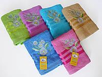 Махровое лицевое полотенце 100х50см (ромашка, три полоски)