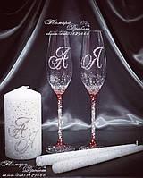 Набор свадебных аксессуаров в стразах (бокалы 26,3см с цветными стразами, свечи)