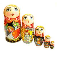 """Матрешка """"Золушка"""" 5 мест, Петриковская роспись"""