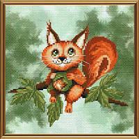 """Набор для вышивания нитками на канве с фоновым рисунком """"Бельчонок"""", 18*18см, СВ5557"""