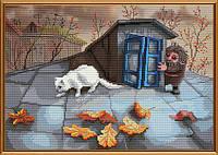 """Набор для вышивания нитками на канве с фоновым рисунком """"Проказник-домовой"""", 33*23см, СВ3043"""