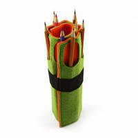 Чехол для карандашей Digital Wool 8 (Color) зелено-оранжевый