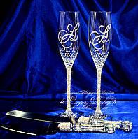 Набор свадебных аксессуаров в стразах (бокалы 27см, ножик и лопатка для торта)