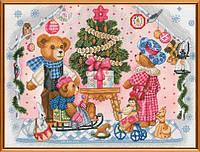 """Наборы для вышивания нитками на канве с фоновым рисунком """"Новогодний подарок"""", 40*30см, СР1187"""