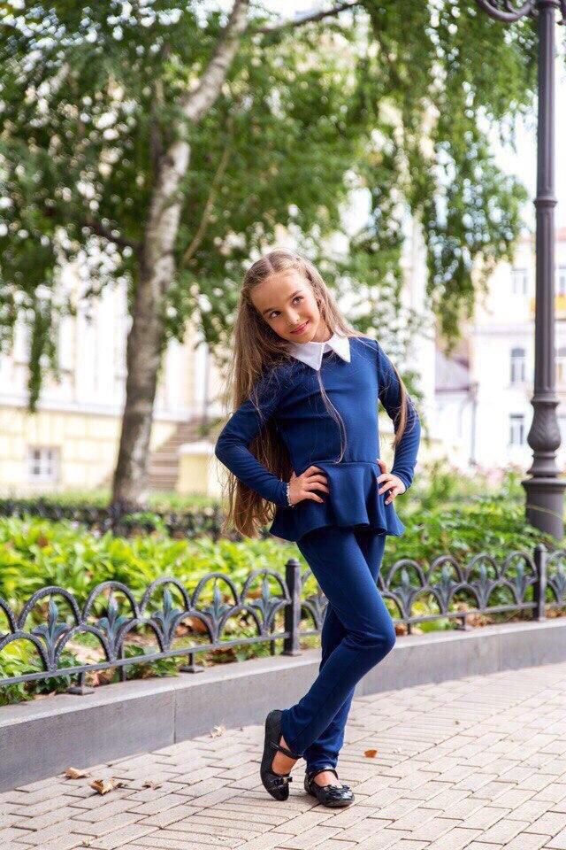 Школьный костюм для девочки (кофта+брючки)