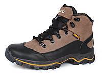 Ботинки зимние кожаные на меху Ecco Gore-tex хаки, Хаки, 32