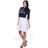 Платье верх эко кожа низ неопрен №147 Размер:L - (46); Цвет:Белый