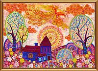 """Ткань с нанесенным рисунком-схемой (атлас) """"Весник счастья"""", для вышивания бисером, 42*30см, БИС1295"""