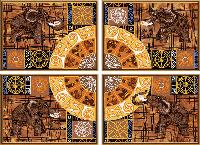 """Ткань с нанесенным рисунком-схемой (атлас) """"Колесо фортуны"""", 4 части по 25*18см, В40007"""