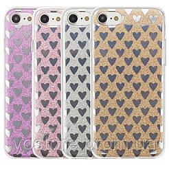 """Cияющий TPU чехол с сердечками для Apple iPhone 7 / 8 (4.7"""")"""