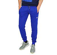 Ярко-Синие мужские спортивные трикотажные штаны с манжетами NIKE, фото 1