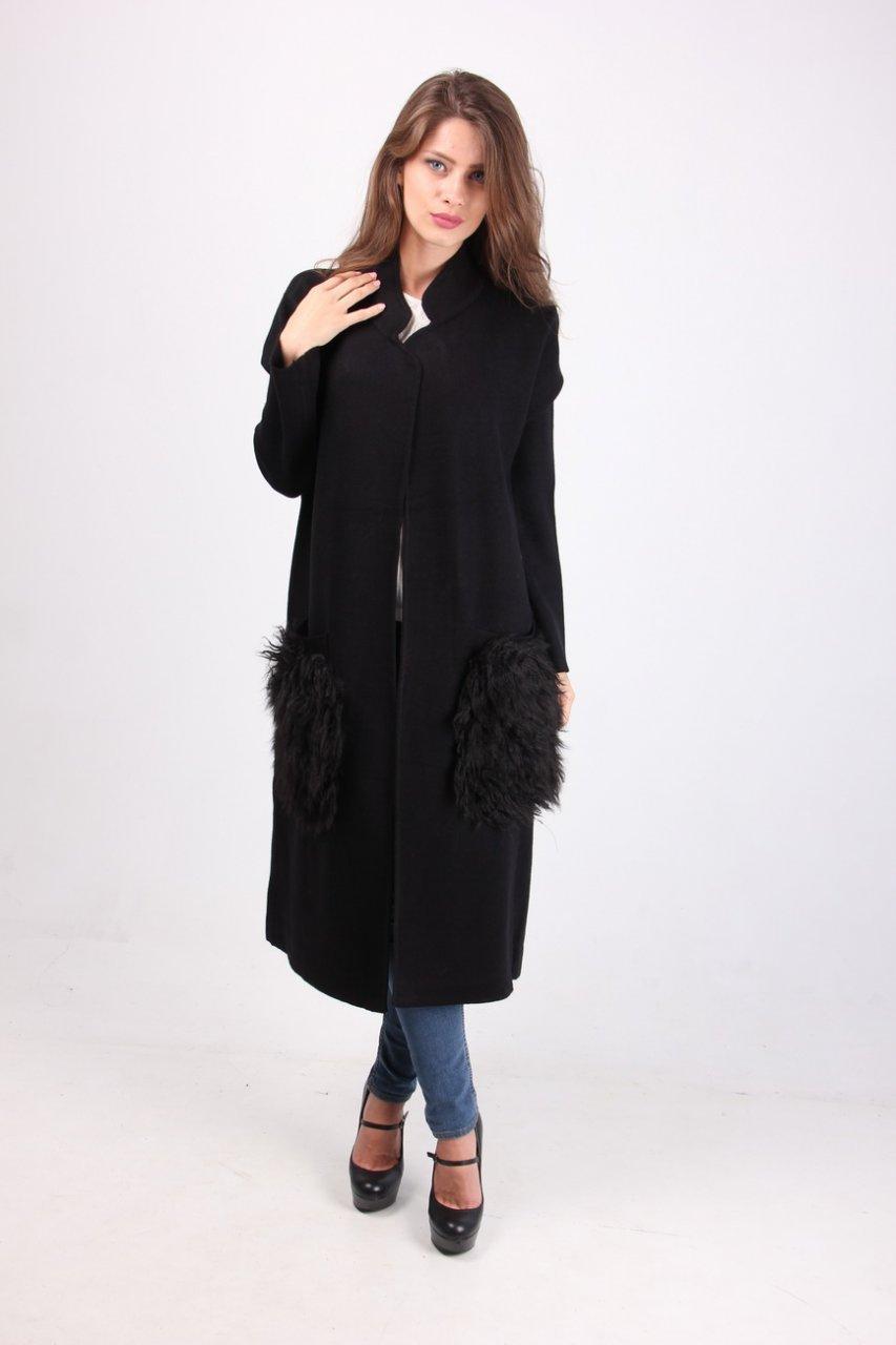 Кардиган - пальто в черном цвете
