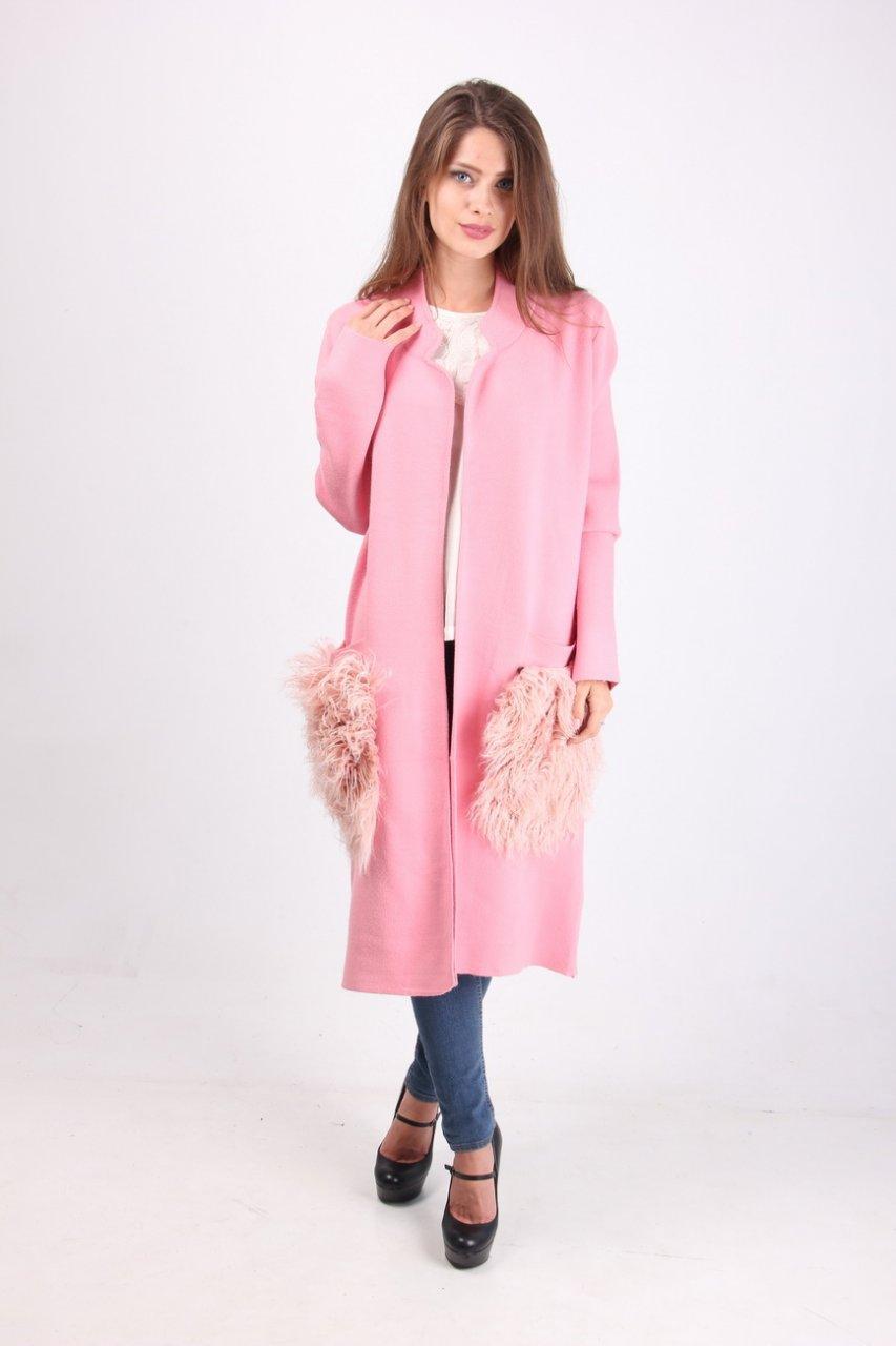 Кардиган - пальто в розовом цвете