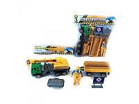 Стройтехника 32см, кран с прицепом, фигурка, дорожный знак, GT11-1