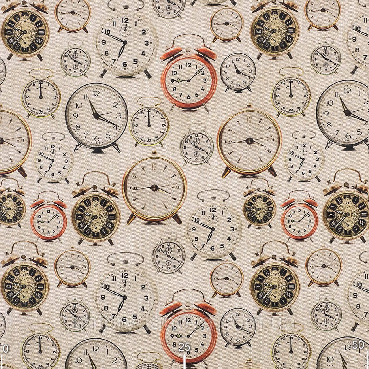 Декоративная ткань принт будильники