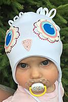 Детская шапочка для девочки с завязками сова  - D1737