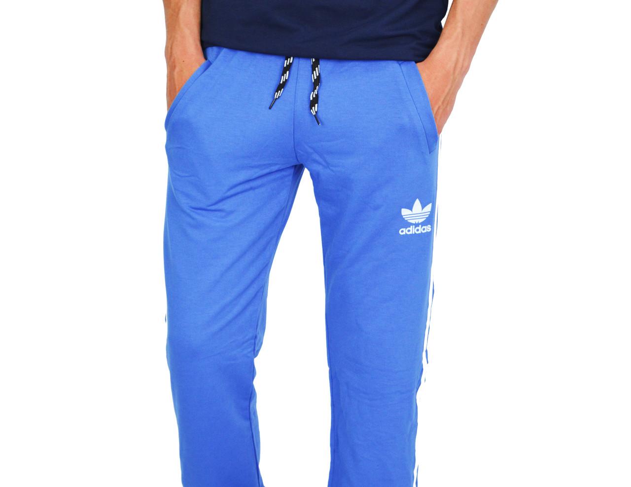 8374c658 Ярко-Синие мужские спортивные трикотажные штаны с манжетами ADIDAS , цена  320 грн., купить Корюковка — Prom.ua (ID#569562490)