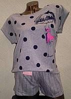 Комплект для сна футболка и шорты LEMILA  серая