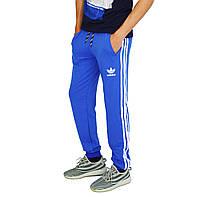 Ярко-Синие мужские спортивные трикотажные штаны с манжетами ADIDAS