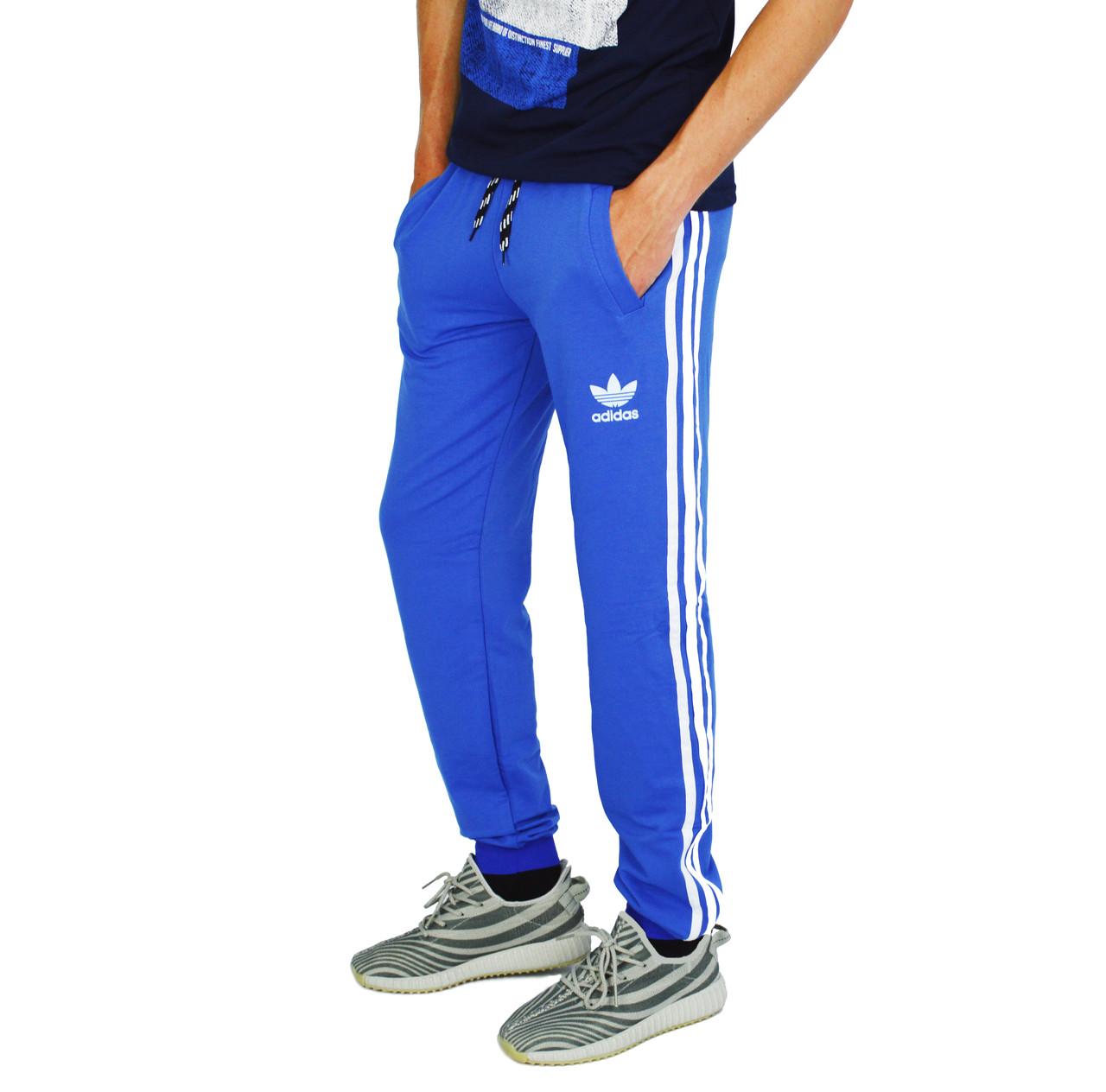 32184c8d Ярко-Синие мужские спортивные трикотажные штаны с манжетами ADIDAS -