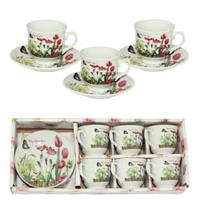Набор кофейный 12 пр. Тюльпан (чашка 100 мл, блюдце 11 см) SNT 533-40**