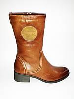 Кожаные демисезонные женские коричневые полусапожки на устойчивом каблуке Aga