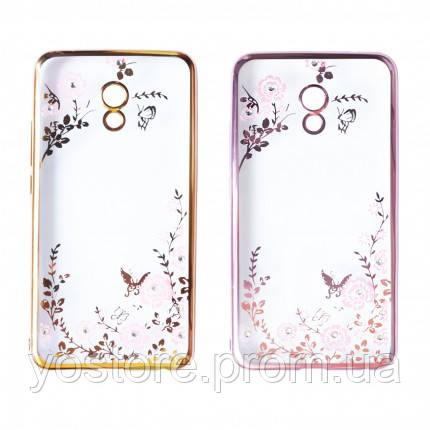 Прозрачный чехол с цветами и стразами для Meizu M5 Note с глянцевым бампером