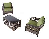 Набор садовой мебели Sumatra 3 Piece Conversation Sofa Set in Olive Green., фото 1