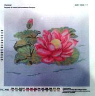 """Ткань с нанесенным рисунком-схемой (атлас) """"Лотос"""", 23*26см., для вышивания бисером, БИС3042"""