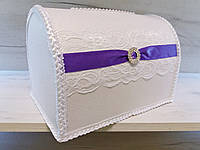 Свадебная казна для денег белый с фиолетовым