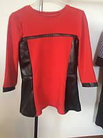 Кофта красная кожаные вставки