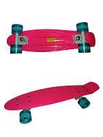 Пенниборд Logo. Розовый. Бирюзовые колеса