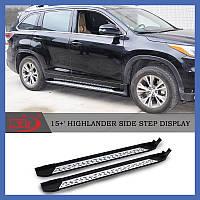 Toyota Highlander 2014+ гг. Пороги Оригинальный дизайн (2 шт, алюминий)