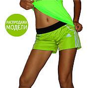 """Спортивные шорты женские """"Adidas"""". Распродажа модели лимонный, 42"""