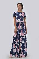 Эффектное платье приталенного силуэта в пол с коротким втачным рукавом и небольшим вырезом-лодочкой