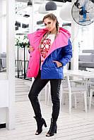 Куртка женская Стильная с капюшоном синяя норма и Батал