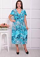 Легкое принтованное платье с коротким рукавом (батал) в расцветках u-ta61553