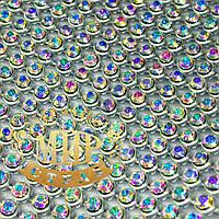 Стразовая термоткань для декора Металл-серебро Стразы Crystal AB(хамелеоны) Размер 1*45см