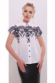 Блузка белая с черным узором воздушная S M L