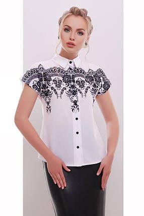 Блузка белая с черным узором воздушная S M L, фото 2