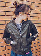 Женская куртка кожанка с манжетами (бомбер) (3 цвета)