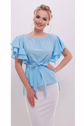 Блуза женская в романтическом стиле, белая персик голубая S M L, фото 2