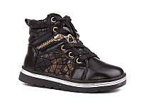 Демисезонная обувь детская. Ботиночки на девочек осенние от фирмы EEB.B W519 black (8 пар, 27-32)