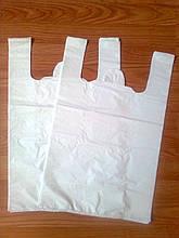 Пакеты майка 31х50 см/30 мкм белая, белые пакеты купить Киев, пакет белый от производителя